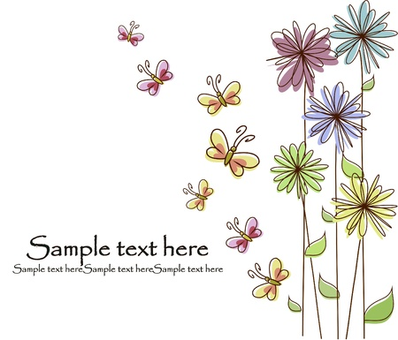 whimsical: Multicolored flowers and butterflies on a white background