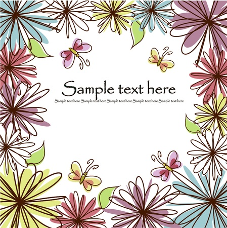 greeting card background: Multicolored flowers and butterflies on a white background