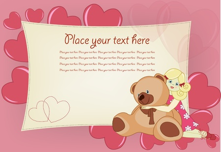 valentine s day teddy bear: Greeting card with a toy bear, the girl and hearts Illustration