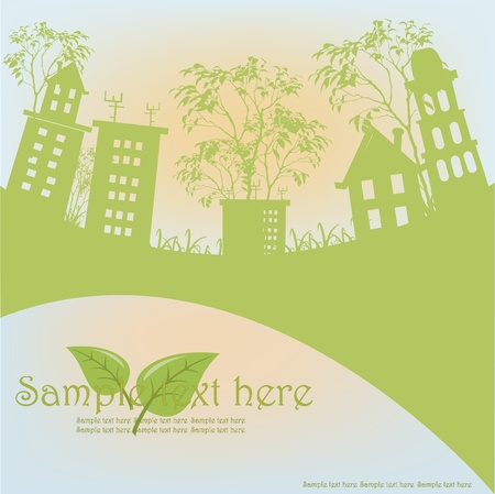 Outline of green houses from trees against the sky Stock Vector - 13402066