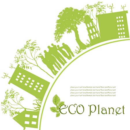 Green ecological planet Vector