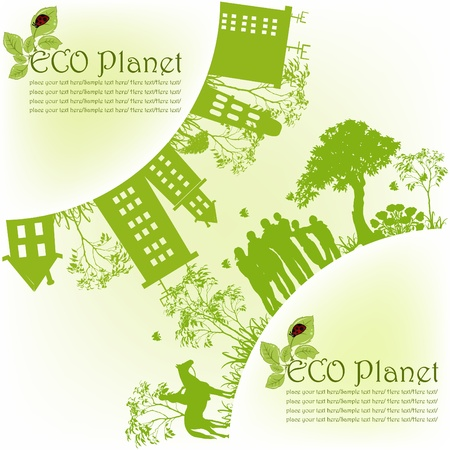 drawing an animal: Green ecological planet Illustration