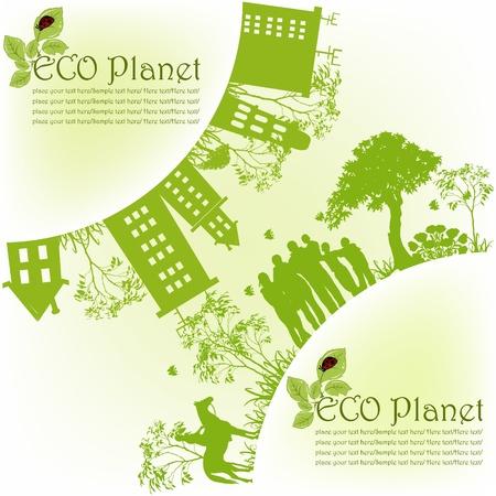 greenpeace: Green ecological planet Illustration