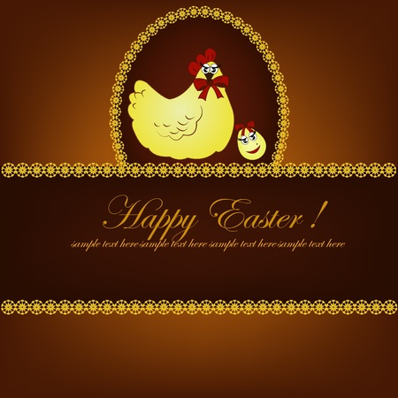 Easter card. Yellow chicken with egg on a brown background Vector