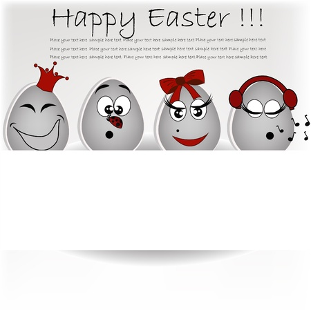 affable: Set gray the eggs, expressing to emotion on a white background