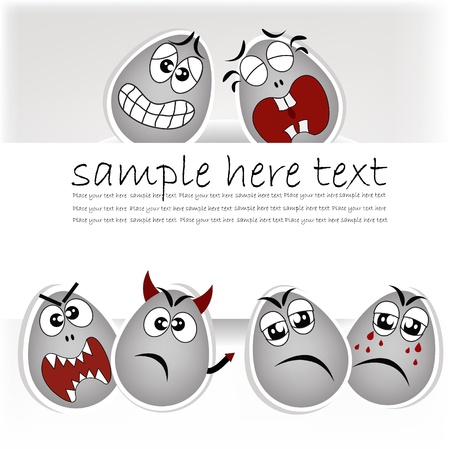 Set gray the eggs, expressing to emotion on a gray background Stock Vector - 13402110