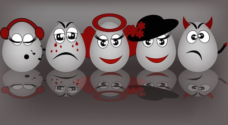 malice: Set gray the eggs, expressing to emotion on a gray background