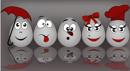 Set gray the eggs, expressing to emotion on a graybackground Vector
