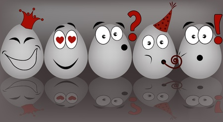 feelings of happiness: Set gray the eggs, expressing to emotion on a gray background