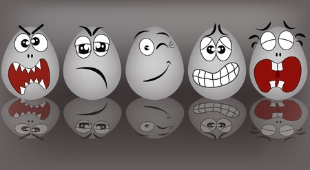 emo��es: Set gray the eggs, expressing to emotion on a gray background