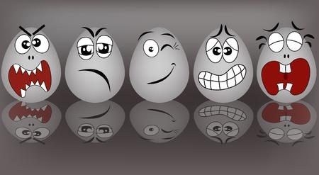 ansikten: Ställ grå äggen, som uttrycker att känslor på en grå bakgrund Illustration