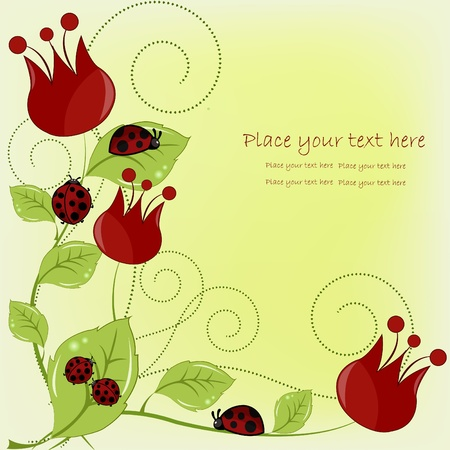 Beautiful card with ladybugs and red flowers Vector