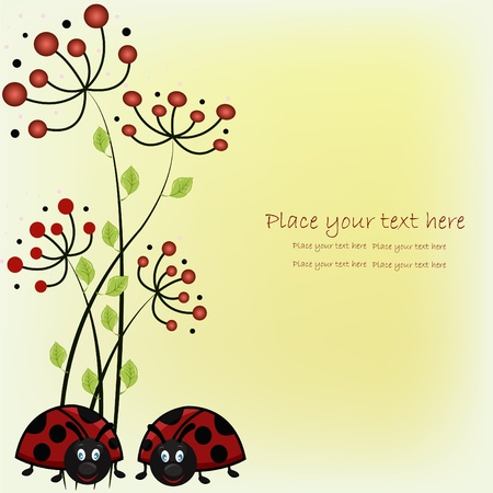 cartoon ladybug: Beautiful card with ladybugs and red flowers Illustration