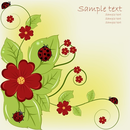 insect on leaf: Beautiful card with ladybugs and red flowers Illustration