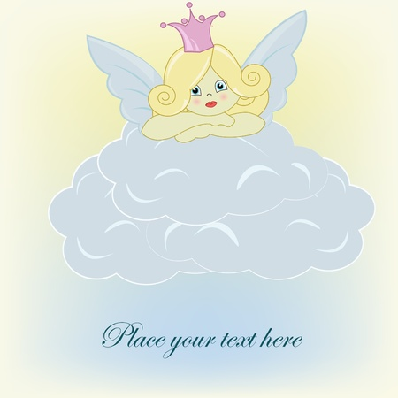 The beautiful small fairy on a cloud Vector