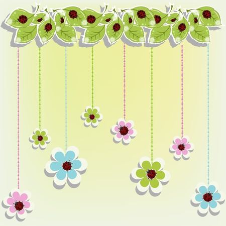 Beautiful card with ladybugs on flowers Illustration