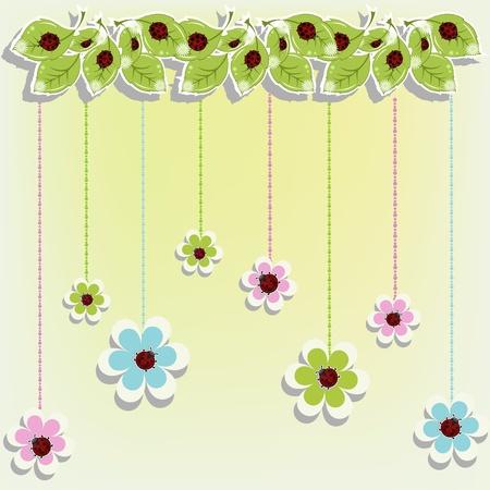 käfer: Sch�ne Karte mit Marienk�fer auf Blumen