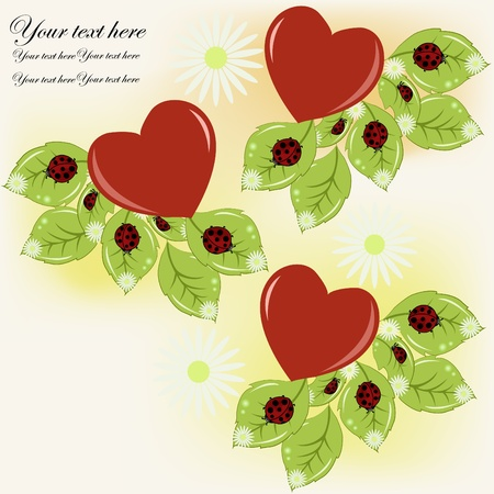 Flowers, hearts and ladybugs on a white background Vector
