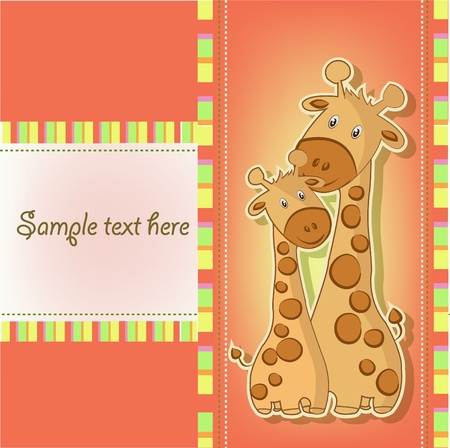 Two funny giraffe on an orange background Vector