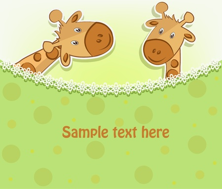 Two funny giraffe on white and green background with circles Vector