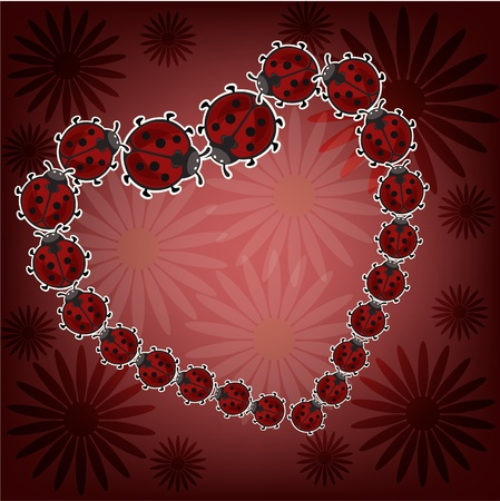 Heart from ladybugs on a red background with camomiles Vector