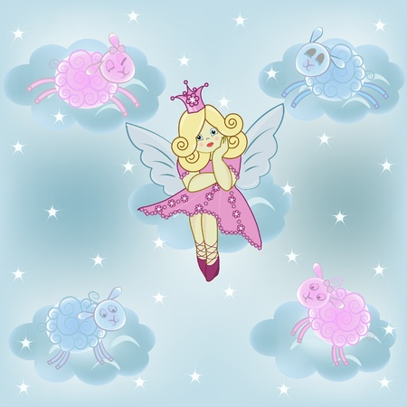 The beautiful small thoughtful fairy on a cloud with lambs Vector