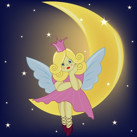 The beautiful girl the fairy sitting on the moon Vector
