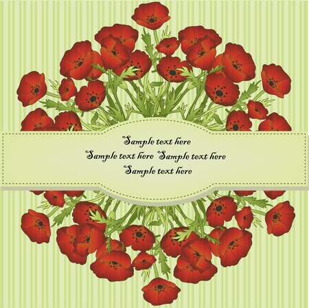 Red poppies on a striped green background Vector