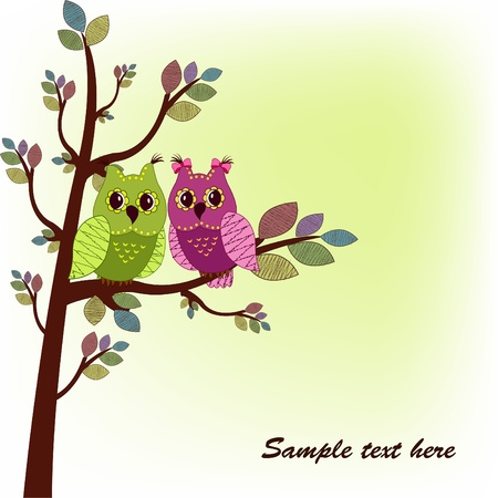 The two owls sitting on tree Vector