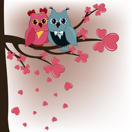 Two owls in a tree lovers with hearts Vector