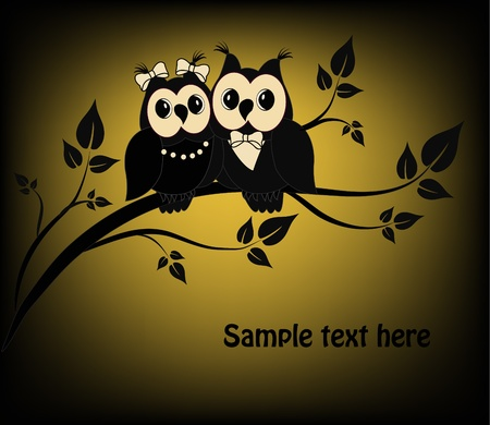 Two black and white on a black owl tree Vector