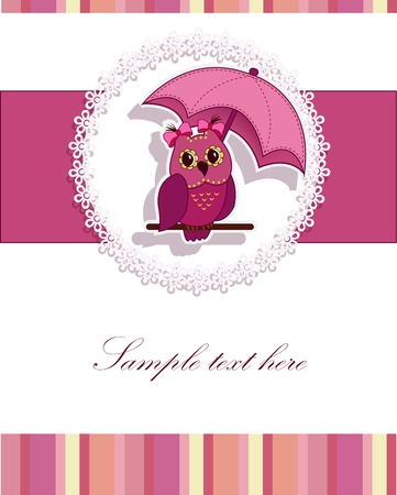 A beautiful card with a pink owl and an umbrella Vector