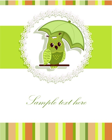 A beautiful card with a green umbrella, and the owl Vector
