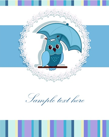 white owl: A beautiful card with a blue umbrella, and the owl