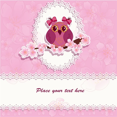 Beautiful owl on a branch on a pink background Vector