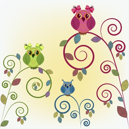Three funny owl on the branches Vector