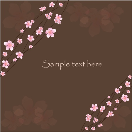 Beautiful flowering branches on a brown background Vector