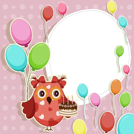 Funny owl with balloons and cake Stock Vector - 13514278