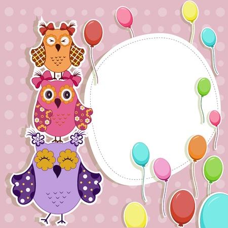 Funny owls with balloons Vector