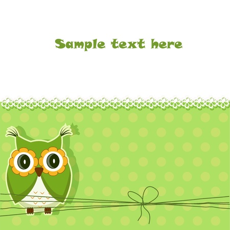 A beautiful card with a green owl on a green and white Vector