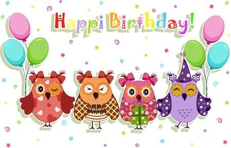 compleanno: Set di elementi vettoriali festa di compleanno con simpatici gufi Vettoriali