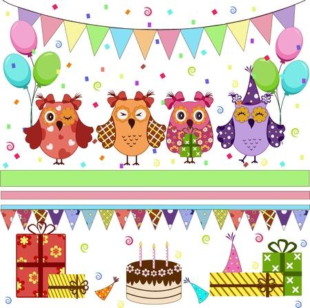 bougie coeur: Ensemble d'�l�ments vectoriels de f�te d'anniversaire avec les hiboux mignons