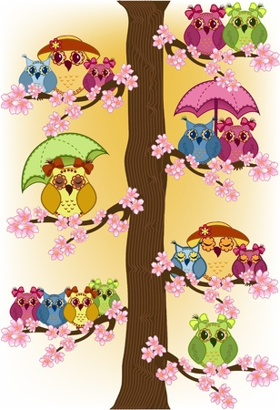 family fun day: Lot of owls sitting in a tree Illustration