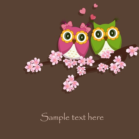 Two funny, love the owl sitting on a flowering branch Illustration