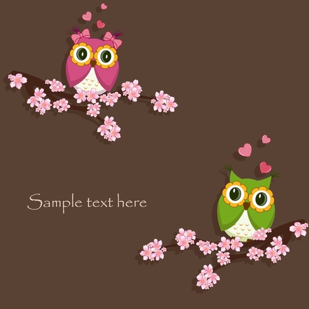 male animal: Two funny, love the owl sitting on a flowering branch Illustration