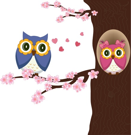 night bird: Owls couple in love on the tree. Vector Illustration