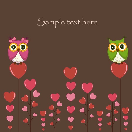 Owls couple in love on the tree. Vector Vector