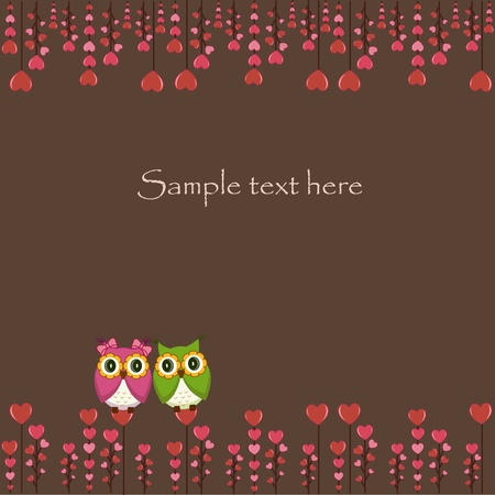 Two funny owl with hearts on a brown background Vector