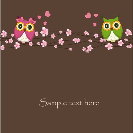 love tree: Two funny, love the owl sitting on a flowering branch Illustration