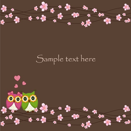 funny love: Two funny, love the owl sitting on a flowering branch on a brown background Illustration